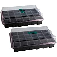 DOITOOL 2 Juegos de Bandejas de Iniciación de Plántulas con Cúpula de 24 Celdas para Jardinería Kit de Germinación de Inicio de Planta de Plántulas de Bonsai (Negro)