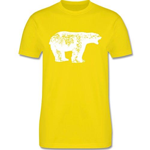 Tiermotive - Weißer Bär - L190 - Premium Männer Herren T-Shirt mit Rundhalsausschnitt Lemon Gelb