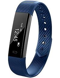Magiyard Pulsera de reloj inteligente de Bluetooth Pulsera de podómetro Sport Fitness Tracker (Azul)