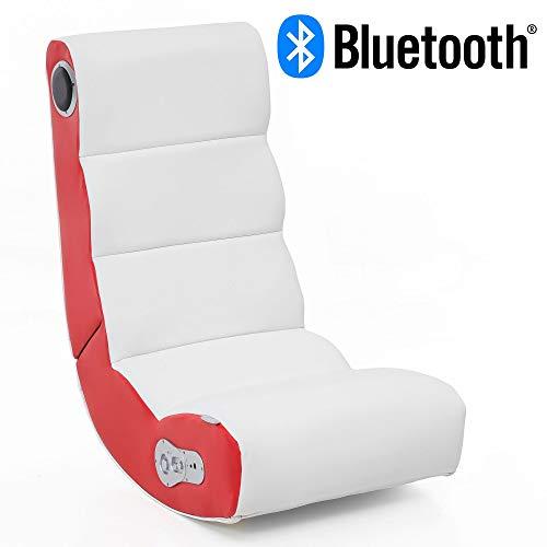 WOHNLING® Soundchair Wobble in Weiß Rot mit Bluetooth | Musiksessel mit eingebauten Lautsprechern | Multimediasessel für Gamer | 2.1 Soundsystem - Subwoofer | Music Gaming Sessel Rocker Chair
