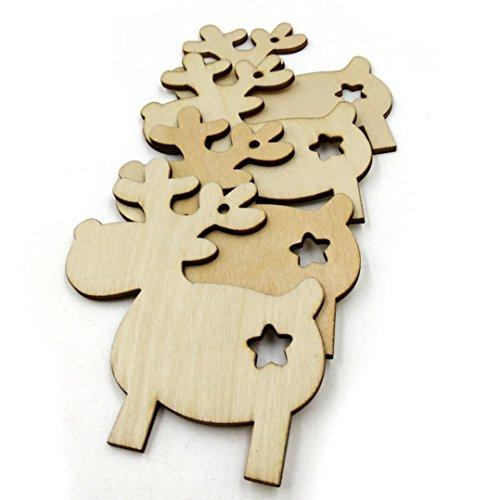 S 10 Stücke Holz Handwerk Ornament DIY Weihnachten Deer Rentier Weihnachten Hängende Dekoration (Rentier Weihnachten Ornamente)