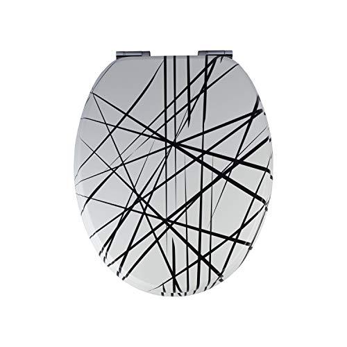 Abattant WC TohaaDesign - Sans Vis, Double Frein de Chute et Charnières Inox - Modèle Universel - Œuvre originale Arrow signée Ludovic Rubbrecht Fixation Universelle WC