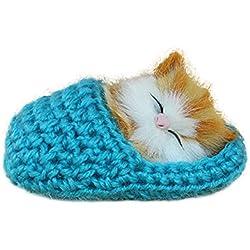 Originaltree Adorable Gato Dormido Zapatillas Sonido Peluche Juguete de simulación de Animales para niños Regalo, Felpa, Azul, Talla única
