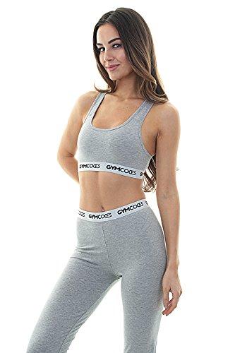 Calvin Klein-print Bh (GYMCODES Damen Comfy BH - Sport BH ohne Bügel mit Push-Up - Bequem für Fitness, Yoga, Zumba, Training & Freizeit (XS, Grau))