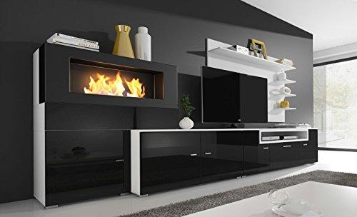 Home innovation- Moderne Wohnwand, TV-Lowboard, Esszimmer mit Kamin Bioethanol, Schrankwand, Wohnzimmer, Kamineinsatz, Verarbeitung weiß Mate und schwarz