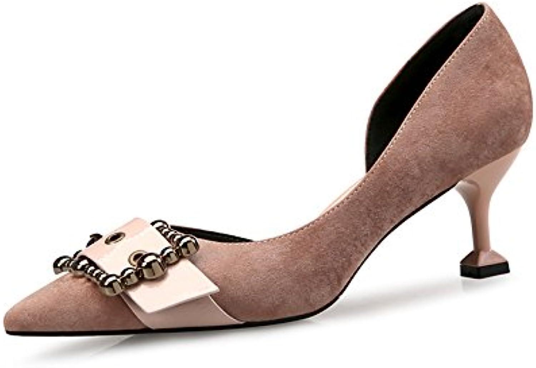 Los zapatos High-Heel punta fina con solo zapatos lado vacío, un par de caqui 37