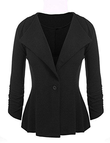 Chigant Damen Blazer Taillierte Kurze Elegante 3/4 Ärmel Jacke Business Anzug Casual Büro Mäntel mit Knopf (Hose Blazer Jacke Anzug)