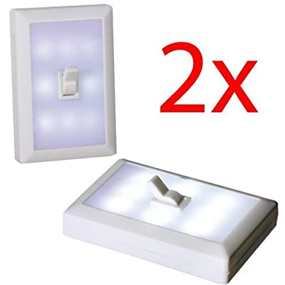 2 X Led Battery Operated Switch Night Light Childrens Bedroom Hall Wall Adhesive