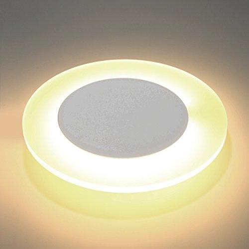 Lightess 12W LED Wandleuchten Wandlampe Rund Inenn Up Down Licht Moderne Wandbeleuchtung Warmweiß Treppenhaus Beleuchutng aus Aluminium Flurlampe Innenleuchte Wand für Wohnzimmer Schlafzimmer