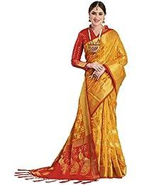 EthnicJunction Silk with Blouse Piece Saree (EJ1175-1009_Mustard_FS)