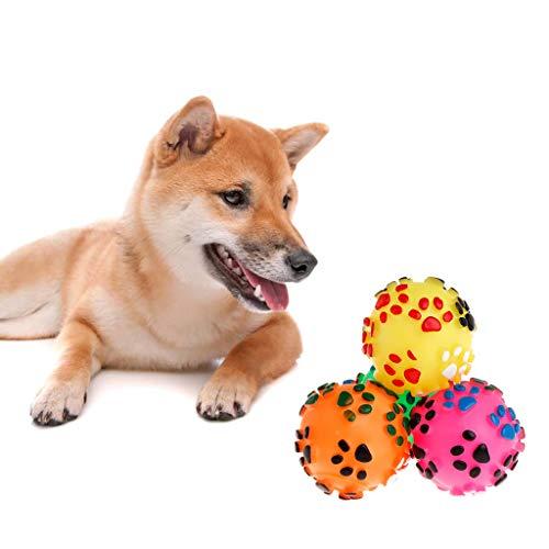 ecLife Hundespielzeug, Ball, Gummi, Kauspielzeug, weiche Fußabdrücke, interaktiv, für Hunde und Katzen, mit Quietschelement