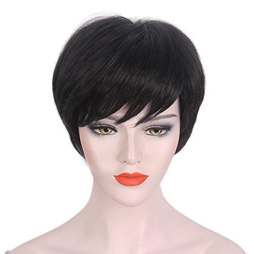 STfantasy Peluca mujer pixie corta negra negras natural