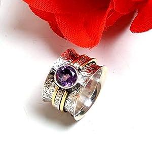 Meditationsringe, Spinnerringe, Silberringe für Frauen, Beautiful Designer Spinning Ring for Women, Amethyst Band Rings, Gift Ring for Christmas, 925 Sterling Silver Wide Band Rings for Women
