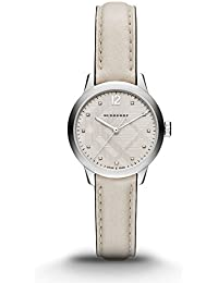 Burberry Reloj de Swiss Diamond Accent, correa de piel color blanco para mujer 32 mm bu10105