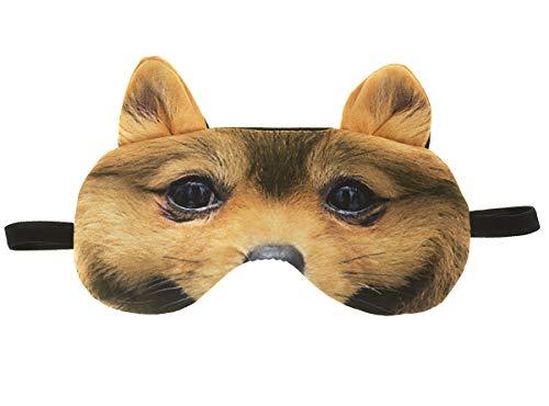 Schlafmaske mit Ohren Reise Relax Augen-maske Abdeckung Bett Nickerchen Augenbinde Seine Schwarz Muster Tier Kreatives Gesicht Hund mit Ohren [042]
