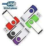 VIEKUU Lot de 5 Clés USB 2.0 32 Go de Stockage Pivotantes Flash Drive Mémoire Stick...