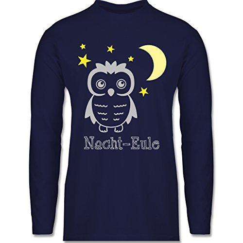 Eulen, Füchse & Co. - Nacht-Eule - Longsleeve / langärmeliges T-Shirt für Herren Navy Blau