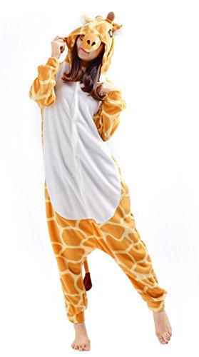 Kostüme Womens Giraffe (Giraffe Kostüm Jumpsuit Damen Pyjama Tier Fasching Onesie Herren Karneval Cosplay)