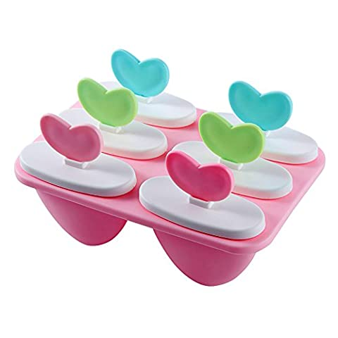 Pingenaneer Frozen Pop Tray / Popsicle Molds Set - BPA Free - 6 Ice Pop Makers(Pink)
