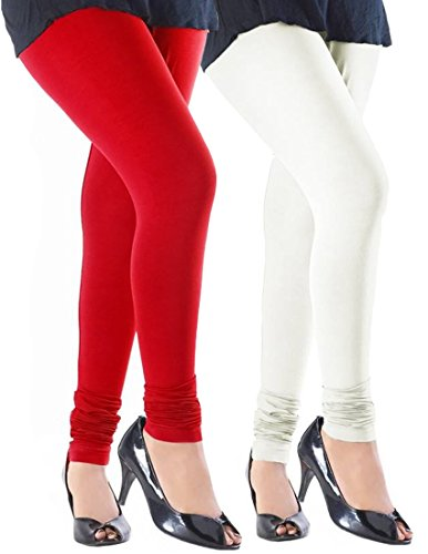 Slassy Cotton Stretch Leggings for Women Combo Offer Pack of 2 Red White Size-Small  available at amazon for Rs.459