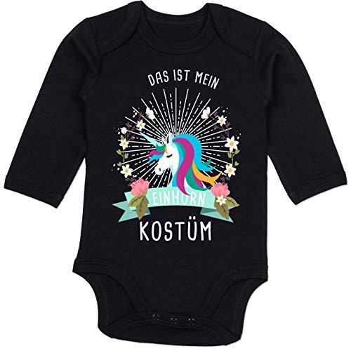 Shirtracer Karneval und Fasching Baby - Das ist Mein Einhorn Kostüm Blumenkranz - 12-18 Monate - Schwarz - BZ30 - Baby Body Langarm