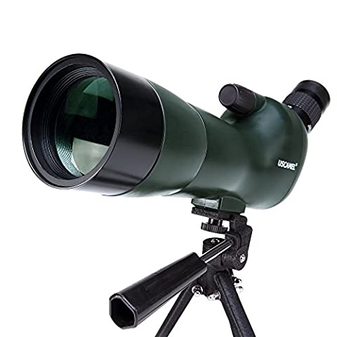 USCAMEL® Bird Watching Waterproof Spotting Scope - 20-60x60 Zoom Monocular Telescope - With Tripod - with Camera Photography Adapter(Army Green, 20-60x60)