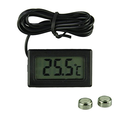 XCSSKG Digitales LCD-Thermometer mit Sonde Anzeige in Celsius–Schwarz