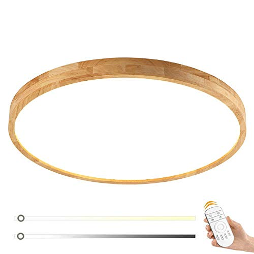 Modern LED Holz Deckenleuchte Schlafzimmer Lampe Dimmbar Fernbedienung Minimalistische Rund Design Wohnraumleuchten Acryl Massivholz Deckenlampe Studio Küche Badlampe Deckenbeleuchtung, (Ø50cm 36W) -