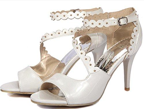 YCMDM Mode féminine Artificielle Pu High Heel Sandales creuses respirantes Party Evening Wedding Bridal White