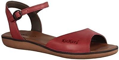 Kickers Hypsy 349963-4 - Zapatos De Mujer Sandalias De Tacón Alto / Honda, Rojo, cuero, altura de tacón: plana