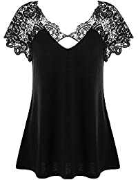 LEvifun Clearance Womens Summer Lace Short Sleeve T-Shirt Lady Plus Size V Neck Back Hollow Casual Tunic Tops Blouse on Sale