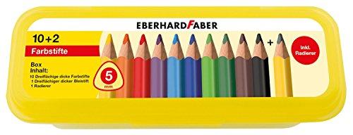 Eberhard Faber 511408 - 10 dreiflächige Jumbo Buntstifte in Aufbewahrungsbox inklusiv Zubehör