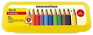 Eberhard Faber 511408-10dreiflächige Jumbo lápices de Colores en Caja con Accesorios