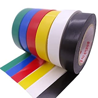 Maveek Electrical Tape 0.6 Inch 15M Electrical Insulation Tape, 50 Feet, 6 Color 6 Pack