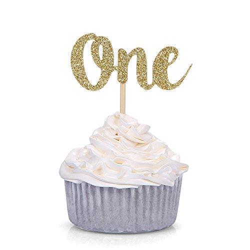 Cupcake-Topper Nummer 1, goldfarben, glitzernd, 24 Stück