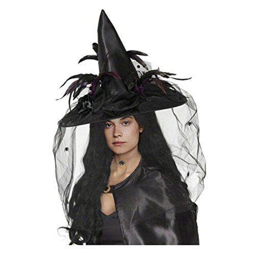 Cadillaps Hexe Mütze Halloween Verkleiden Kostüme Cosplay Mit Feder und Netz Größe Hut (Hexe Kostüm Maske Accessoire)