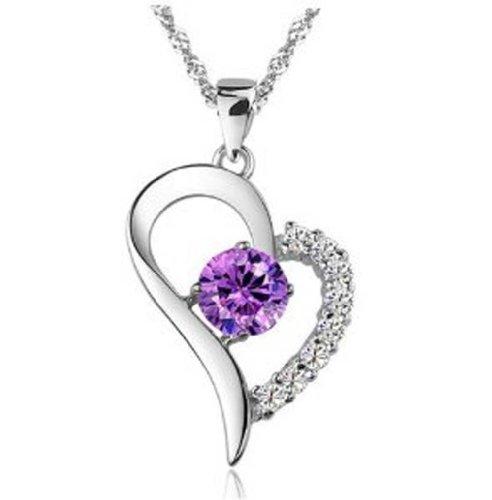 findout Rodio plateado collar de plata de ley 925 del corazón Cubic Zirconia de lujo con gas amatista colgante (F870)