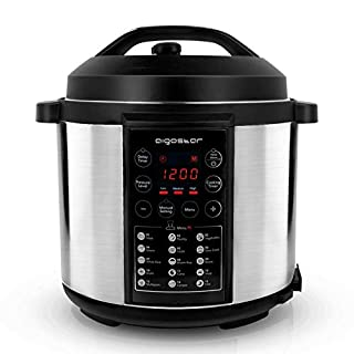 AIGOSTAR Mi Electric Pressure Cooker 30KYE - 7-in-1 Programmable Multi Cooker, Rice Cooker, 3 Optional Pressure Levels, Timer, Keep-Warm Function, 5.5L, 1000W, Black and Silver.