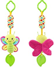 Baby Grow Cute Animals Hand Bell Rattles Hang Baby Kids Stroller Toys 0-12 Months (Butterfly)