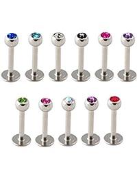 Lot De 11 Piercings Labret, Lèvre, Tragus Longueur 6 Ou 8 mm Avec Boule 3 mm