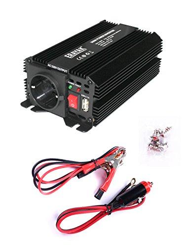 Erayak 300W Wechselrichter TÜV Zertifiziert, DC 12V auf AC 230V Spannungswandler, Konverter mit 1 EU Buchse, 1 USB Ports, Zigarettenanzünder Stecker, Autobatterieclips (Konverter-sicherung)