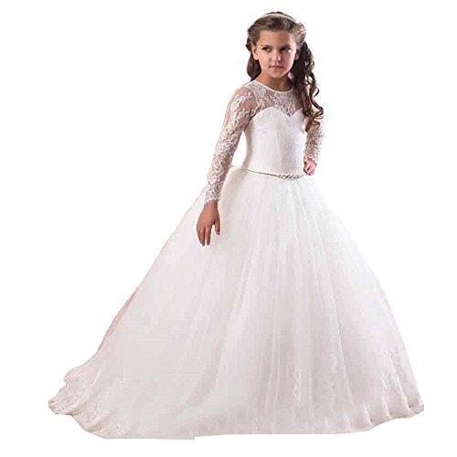 61dd44e3915f3 KekeHouse® Vestido de bola Manga larga Cordón Tul Vestido de niña de flores  Vestido de