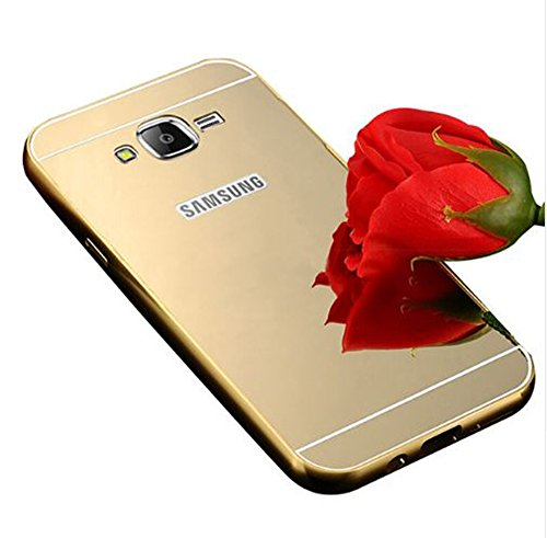 Heartly Premium Luxury Metal Bumper Frame With Acrylic Mirror Back Case Cover For Samsung Galaxy Core Prime SM-G360 - Hot Gold