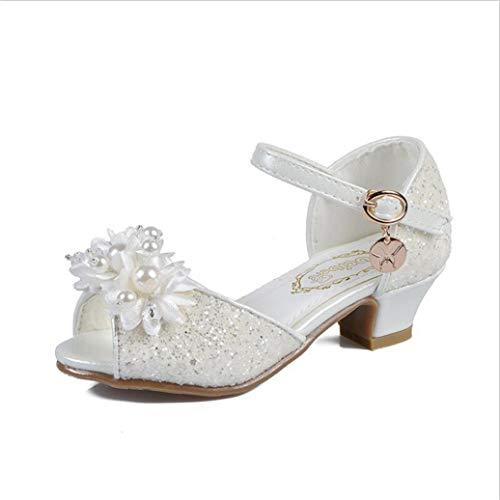 Sandali da Bambina con Tacco Alto Estate Confortevole Perla Glitter Fiocco Sandali Principessa Scarpe Eleganti Scarpe da Passeggio all'aperto Scarpe da Ballo
