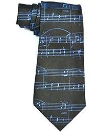 musique notes blanc song italyan qualité tie (Black-noir)
