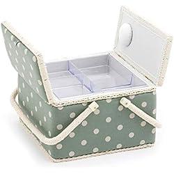 Hobby Caja de Costura de Regalo (L): Doble Tapa: Cuadrado: moisés, Lunares, tamaño Grande