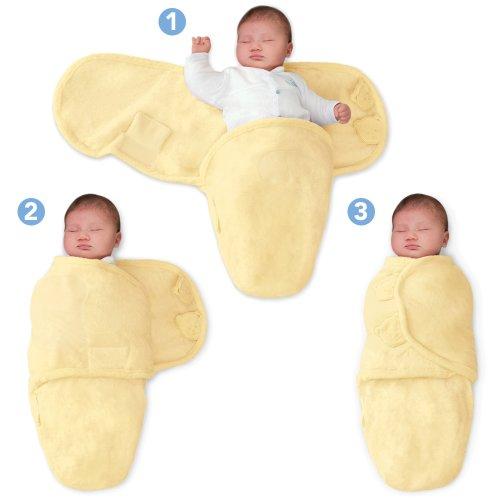SwaddleMe 71034 - M2Y Neugeborenes - Ganzkörper Pucksack ist ideal bei Schreibabys Small Microfleece/gelb
