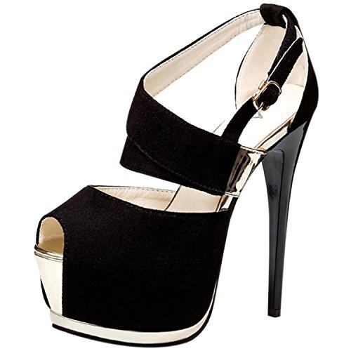 Oasap Women's Peep Toe Platform Stiletto Heels Night Club Sandals Red