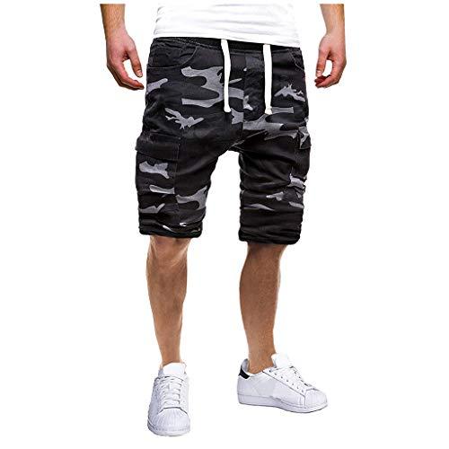 Karinao Herren Sport Joggen und Training Shorts Fashion Camouflage Freizeit Fitness Kurze Hose Cargo Shorts Bermuda(M,Camouflage)