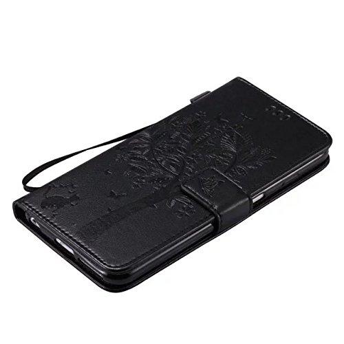 DaYiYang Case Cover IPhone 6s plus Fall, Normallack-erstklassiger PU-lederner Fall-Prägen-Muster-Schlag-Standplatz-Fall-Abdeckung mit Karte und Bargeldschlitze für iPhone 6s plus ( Color : Green ) Black